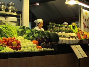 Fruit and vegetable stand. Thai open air produce markets are excellent.
