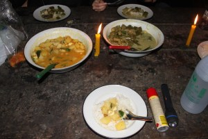 Dinner by candle light.. Yummy . . .  I jest of course.