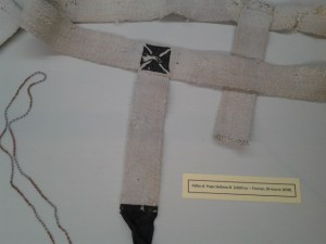 In the Duomo Crypt, this is part of a Pope's cassock.
