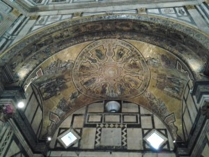Mosaic design was beautiful. Some scholars mistakenly thought that this octagonal structure was originally a pagan temple. It wasn't - However, the design incorporates many Roman (similar to the Pantheon) and Islamic features.