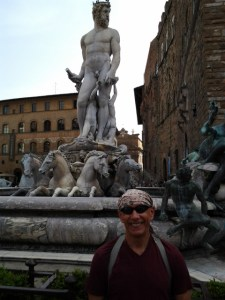 In front of the Poseidon statue.