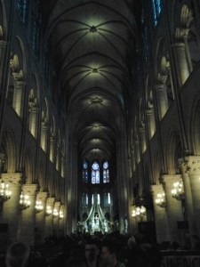 Inside, near the rear of the cathedral.