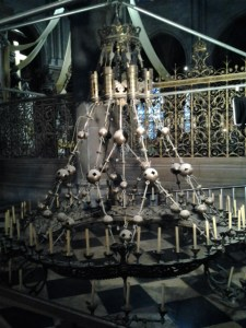 Candle chandelier that is no longer being used (perhaps due to the fire danger?), but was on display inside.
