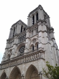 Notre Dame Cathedral. This cathedral is so massive and there are quite a few obstructions where it's very difficult to get a photograph of the entire cathedral. This is about the best I could do with my tablet.
