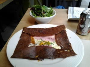 My galette (crepe) and salad that I had today at lunch. Both were excellent!