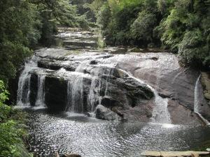 Water falls near Greymouth, New Zealand.