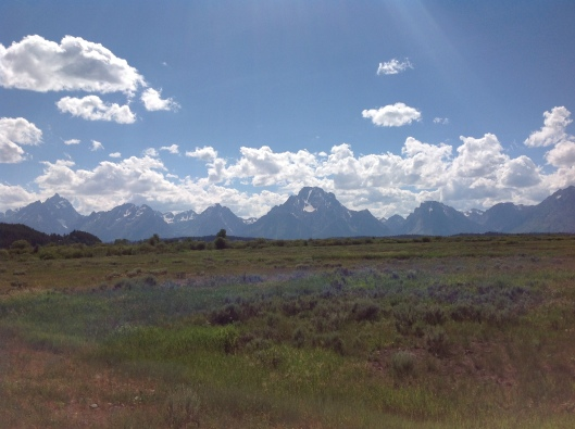 Approaching the Grand Tetons.