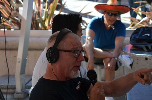 Pawlie (Paul Kocak) being interviewed by Marty Lurie, a San Francisco radio personality (as well as a famous SF attorney) at the Public House bar and grill.  I am cheering him on in the background.