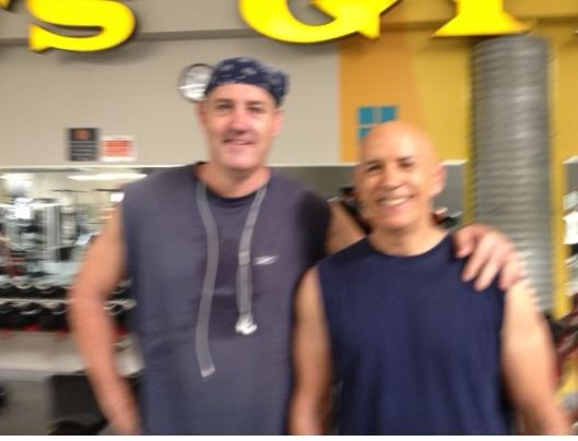 Blurry photo of Flavor and I at his gym.