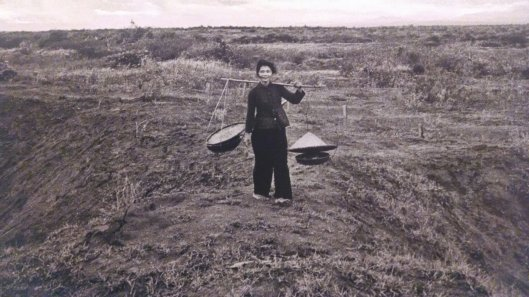 War Remembrance Museum photo of pheasant lady surrounded by land destroyed by chemicals (Agent Orange). Sad.
