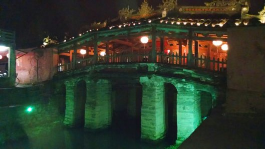 The Japanese bridge which leads to the old ancient city section of Hoi An.