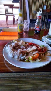 This is a simple rice and chicken lunch. When you are in Cambodia, order  called Lok Lak, which is made with chicken, beef, or fish (amok).  It is delicious as well.