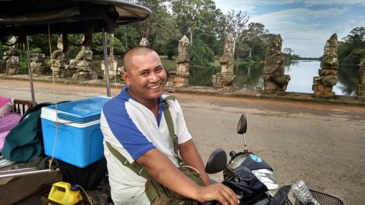 Sok, my tuk tuk driver. He took me to the 3 main areas where the 4 primary temple complexes are. He also picked me up at the airport when I arrived in Siem Reap. Dude looks like a baby Buddha - he's much bigger then the typical Cambodian man. Very stout. Good guy to have watching your back.