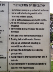 Security Regulations at Tuol Sleng S-21 prison.