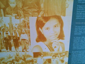 Pisey, a Cambodian friend of mine, told me that her mother, shown in this photograph, testified at a War Crimes tribunal regarding her own mother (Pisey's grandmother) who was taken to Tuol Sleng and murdered by her captors.