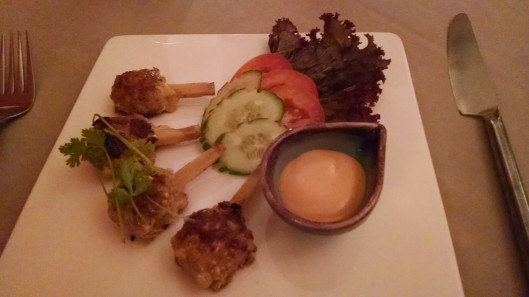 This is pork on a sugar cane stick that I had for an appetizer.