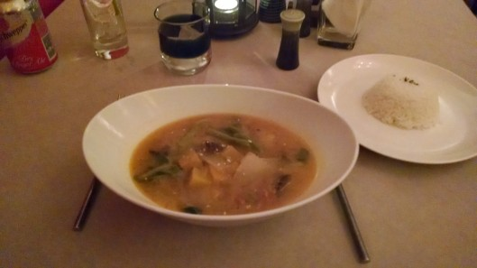 Delicious Cambodian soup with vegetables and chicken.