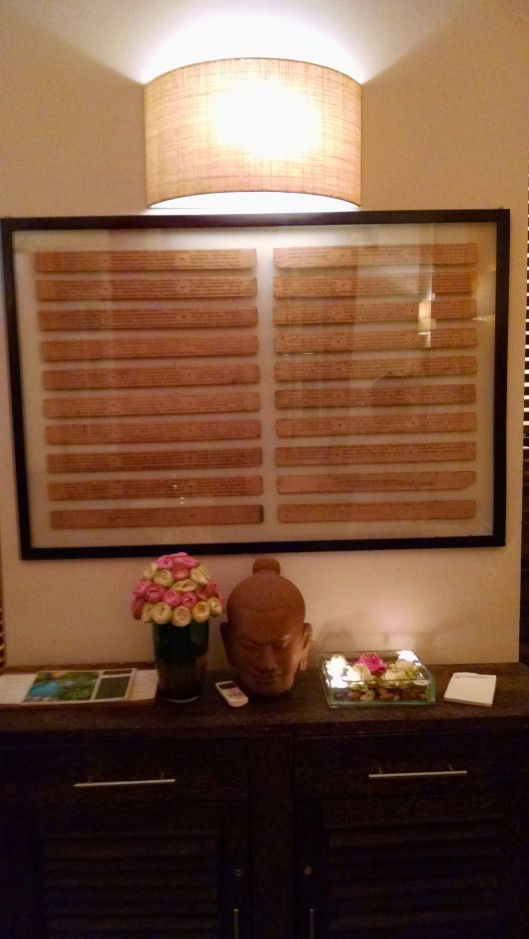 Sort of blurry, but this frame contained Sanskrit writing which I found beautiful and fascinating. It was located at a restaurant I went to.