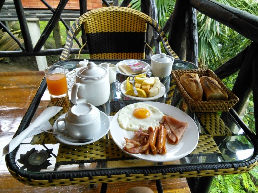 My breakfast each morning at the guesthouse. It was served on my bungalow veranda at precisely at 7am. LOL. By the by, the Lao french bread is one of the BEST I have ever tasted. Delicious!
