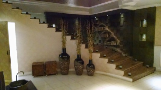Upstairs to the massage rooms.