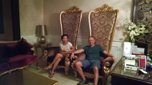 """In the spa reception area, they had these """"queen and king"""" size chairs. After your massage, you do feel a bit like royalty. Hehehe . . ."""
