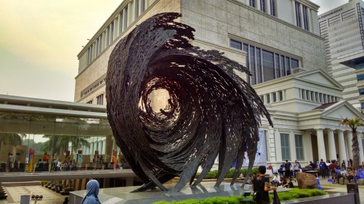 Prominent piece of art work near the front entrance to the National Museum.