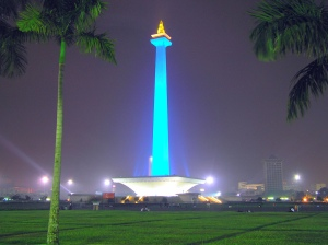 MONAS or National Monument at night.